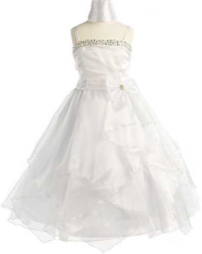 Rhinestone Pageant Party Holiday Communion Flower Girl Long Dress - White 8