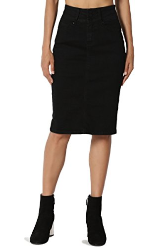 TheMogan Women's Butt Lift Indigo Pencil Knee Midi Stretch Denim Skirt Black M
