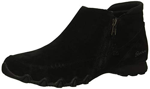 Skechers Women's Bikers-ZIPPIEST-Moc-Toe Outside Zip Bootie Ankle Boot, Black, 7.5 M US