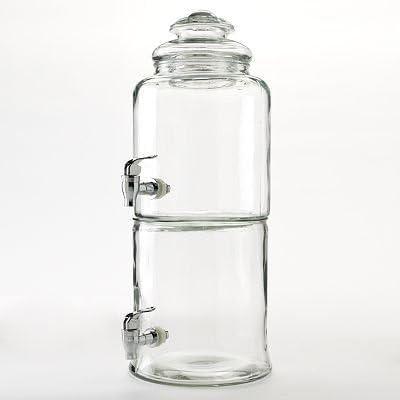 Circleware Duet enorme apilable de 3 galones dispensador de bebidas bebida doble de cristal, 1,5 galones cada cámara, tapa de cristal y cromo caño cristal, utensilios para vaso: Amazon.es: Hogar