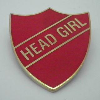 Head Girl Enamel School Shield Badge - Red - Pack of 10 by Lapal Dimension