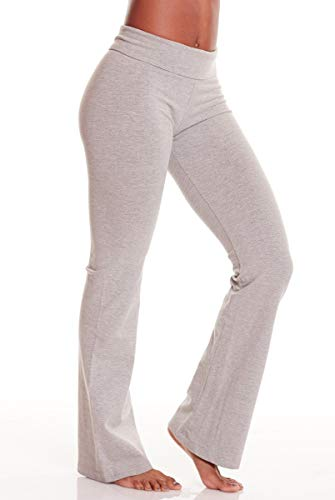 (Hard Tail Rolldown Bootleg Flare Pant -Light Grey-XS Womens Active Workout Yoga Leggings Light Grey)