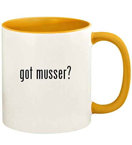 got musser? - 11oz Ceramic Colored Handle and Inside Coffee Mug Cup, Golden - Yellow Vibraphone Cord