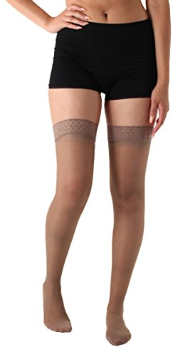 Sheer Compression Thigh High Stockings Medium Support 15-20mmHg Taupe XL Absolute Support