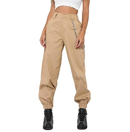 RUEWEY Women High Waist Hip Hop Dance Tapered Cargo Jogger Pants Trousers with Chain Harem Baggy Jogging Sweatpants (L, Khaki)