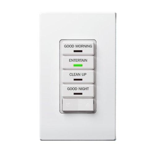 Leviton VRCS4-1LX Vizia RF + 4-Button Scene Controller for Multi-Location Control with IR Remote Capability, (Scene Dimmer)