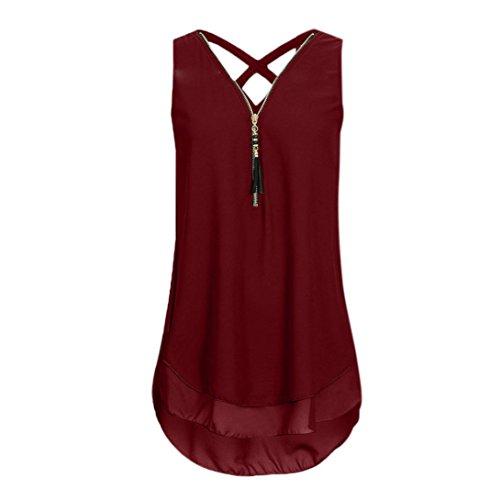 (NREALY Chiffon Women Loose Sleeveless Tank Top Cross Back Hem Layed Zipper V-Neck T Shirts Tops (L, Wine))
