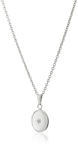 Child Oval Locket (Girls' Children's and Baby Sterling Silver Diamond Oval Locket Necklace, 13