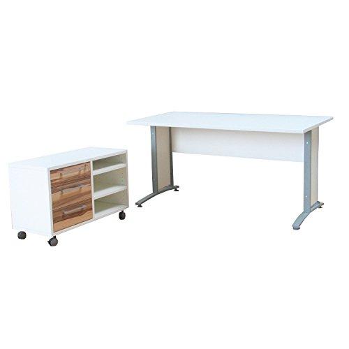 PRIMA con cajonera con ruedas oficina escritorio mesa blanco/color ...