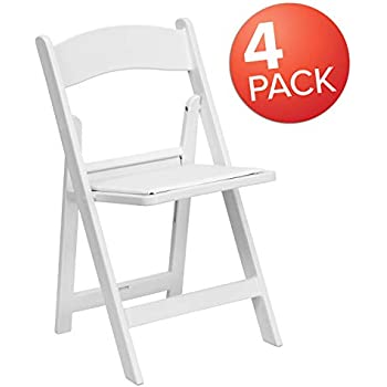 Brilliant Flash Furniture 4 Pk Hercules Series 1000 Lb Capacity White Resin Folding Chair With White Vinyl Padded Seat Squirreltailoven Fun Painted Chair Ideas Images Squirreltailovenorg