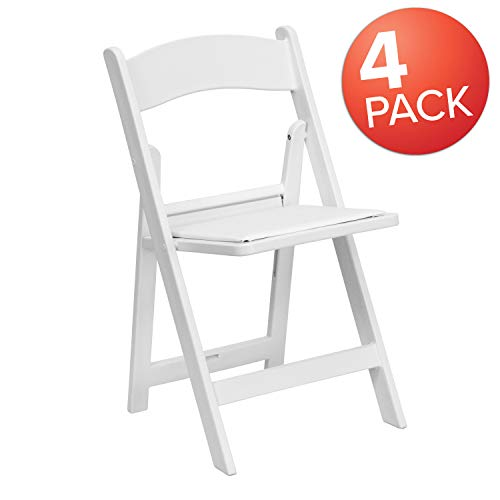 4 Pk. HERCULES™ 1000 lb. Capacity White Resin Folding Chair with White Vinyl Padded Seat