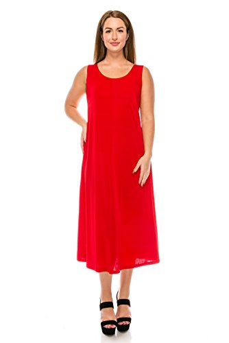 In Jostar Sleeveless Stretchy Tank Made Size Women's Plus Dress USA Red Long q6qpwz