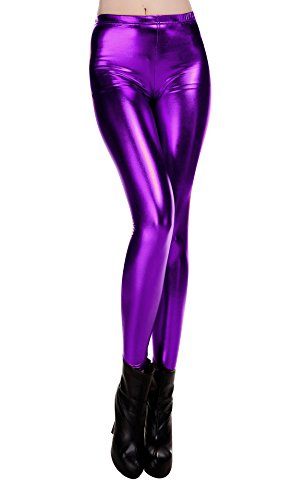 Liquid Wet Look Shiny Metallic Stretch Leggings (L, -