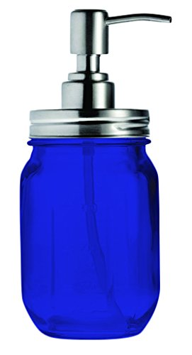 (Mason Jar Soap Liquid Dispenser By Smiths - Full Color Cobalt Blue - Additional Vibrant Colors Available by TableTop King)