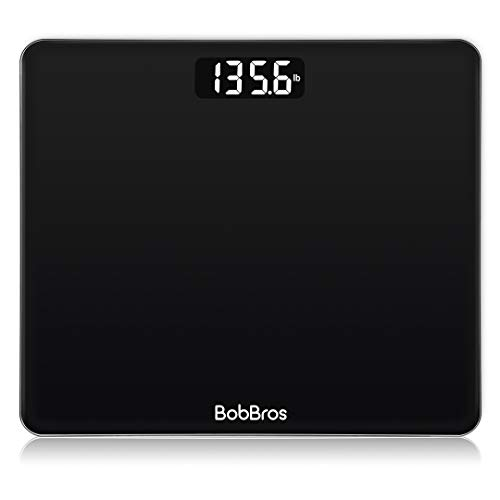 BobBros Precision Digital Body Weight Bathroom Scale Weighing Scale Smart Step-on Technology, Large Platform, 400 Pounds Weight Loss Monitor, Black