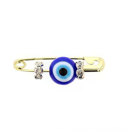 DiamondJewelryNY Evil Eye, Glass Evil Eye Charm With Brass Safety Pin To Hook (B) - Charm Eyeglass Evil