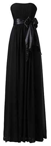 Party Black Lang Schulterfrei Fanciest Damen Dress Brautjungfernkleides Chiffon Wedding 4wUCRTBq