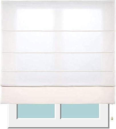 Stores Deco Estor Plegable con Varillas, Estor translúcido para Ventanas y Puertas (90 cm x 175 cm, Crudo)