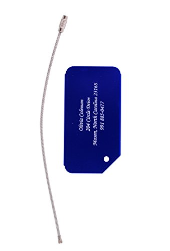 Custom Luggage Tags Personalized Gift Metal Engraved for Travel Suitcase Bag Label (Blue)