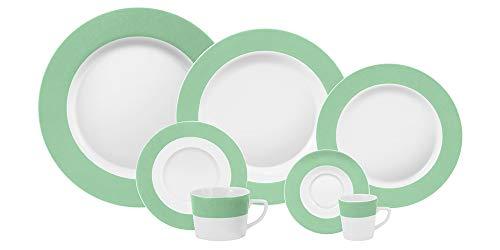 Serviço Jantar Chá Café 42 Peças Porcelana Schmidt Diversos. Decoração Linha Matte Verde Primavera Pacote De 042 No Voltagev