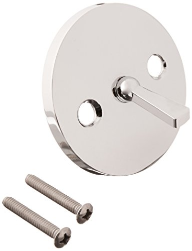 LASCO 03-1409 Bathtub Trip Lever Plate with Screws Oversized Style, Chrome Plated