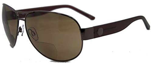 In Style Eyes Stylin C Moore Aviator Nearly Invisible Line Bifocal Sunglasses/Brown 2.50 by In Style Eyes