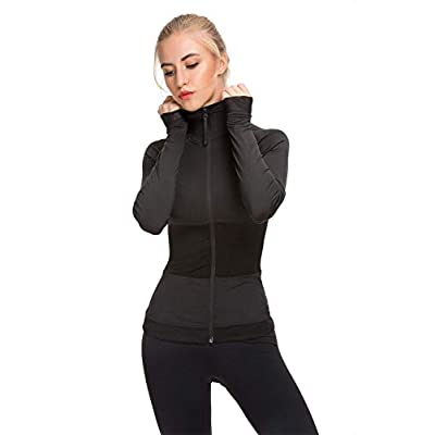 Women Sport Workout Jacket Zip Up Stretchy Yoga Running Jacket Coat with Back Pocket at Women's Clothing store