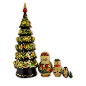 Nesting Dolls Hand Painted 5 Nested Christmas Tree by ALEX001 (Image #1)