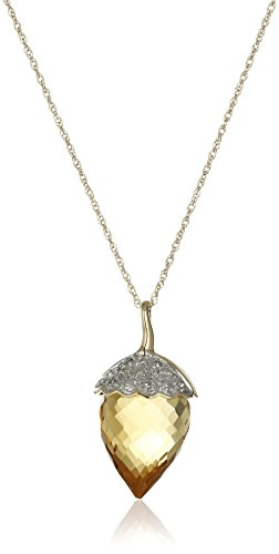 10k Yellow Gold Citrine and Diamond Acorn Pendant Necklace (.03 cttw, I-J Color, I3 Clarity), 18''