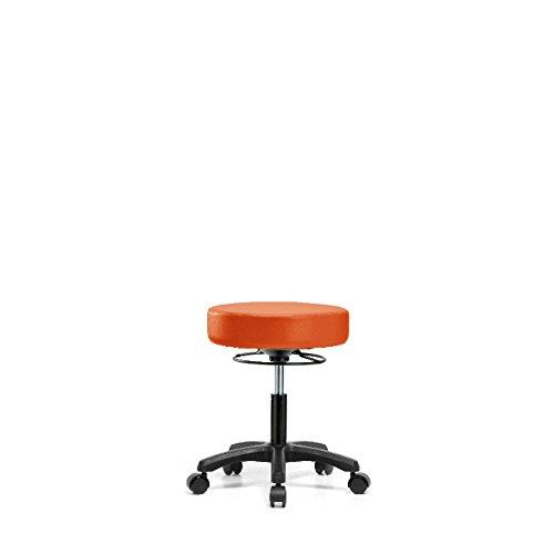 Vinyl Desk Height Mini Stool - Nylon Base, Casters, Orange Kist Vinyl