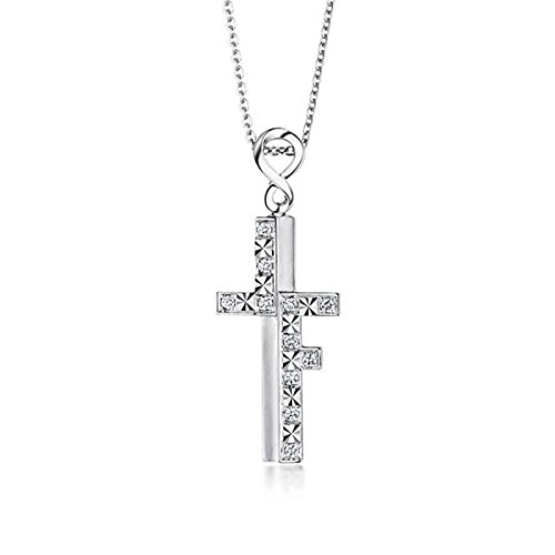 Beydodo Women Necklace,18k Real White Gold 2.52g Cross ''Love Forever'' Round Brilliant Diamond Necklace by Beydodo