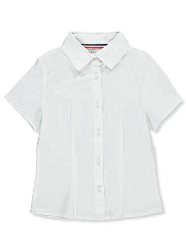 Blouse Girls Sleeve Short (French Toast Girls' Big Short Sleeve Stretch Shirt, White, 12)