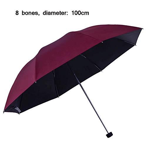(AXWT Fold Umbrella Black Glue Sunscreen Parasol Defense Ultraviolet Light Manual Umbrella 8 Steel Stock Individual Sunny Umbrella (Color : Red))