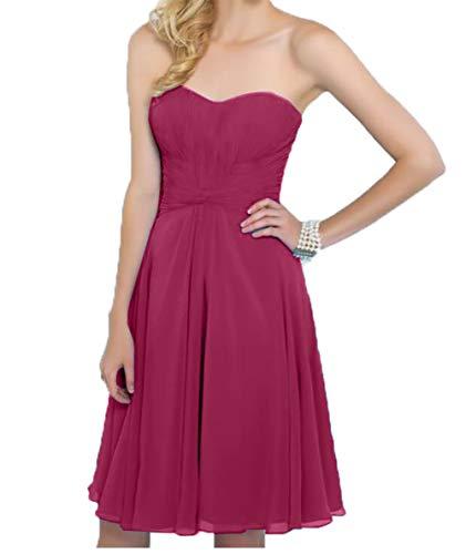 Traegerlos Dunkel Knielang Pink Charmant Festlichkleider Abendkleider Einfach Kleid Brautjungfernkleider Chiffon Damen Kurz BvxqET