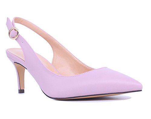 SUNETEDANCE Women's Slingback Pumps Pointed Toe Kitten Heels Sandals Slip On Stiletto Mid Heels Shoes, PU Pink, US8 B(M) US