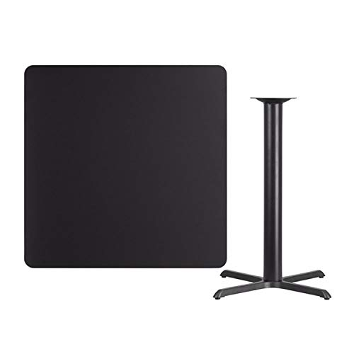 Offex 42'' Square Black Laminate Table Top with 33'' x 33'' Bar Height Table Base