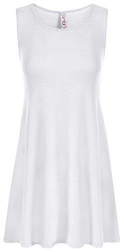 Simlu Womens Sleeveless Loose Fit Tank T Shirt Tunic ,White,Large