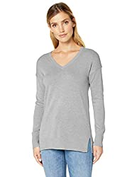 Amazon Essentials Women S Lightweight V Neck Tunic Sweater Light Grey Heather Large