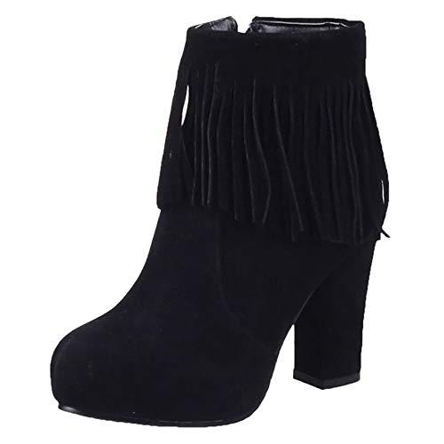 Fringe High Classic Boots Black Heel Women Coolcept qwpIB8E