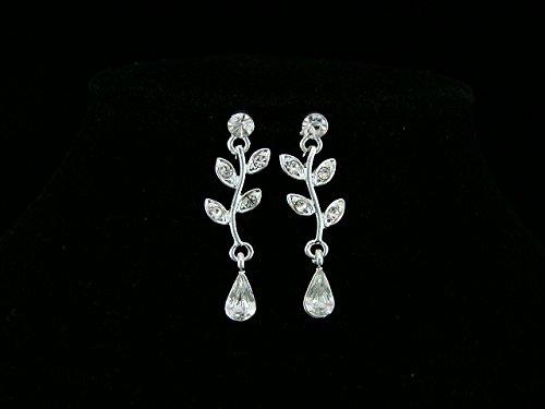 Elegant Vine Design Bridal Wedding Crystal Necklace Earrings Set - Silver Plated Clear Rhinestones N195 by SAMKY (Image #4)