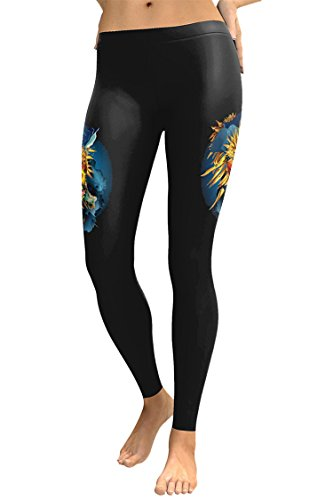 Juniors Skull Print Runing Movement Gym Yoga Bodybuilding Leggings (X-Large,Black) by Elosele