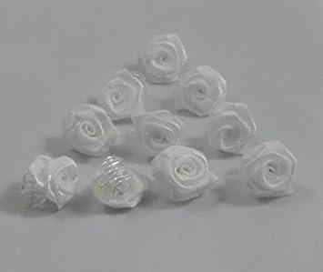 10 Rosen Weiss Klemmen Haarschmuck Kopfschmuck Hochzeit