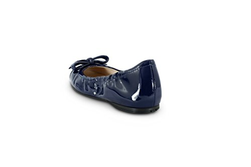 ... Navy Prada Kvinners Patent Lær Logo Bow Knuse Ballett Flat, ...