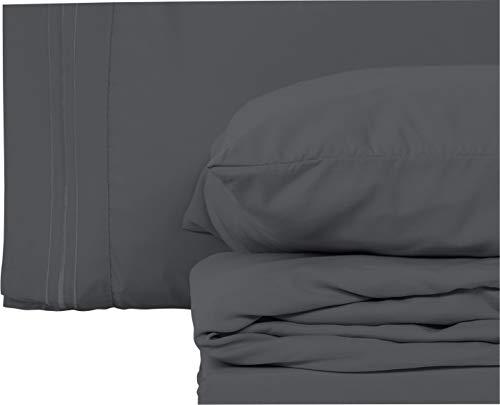 Style Basics Super Soft Brushed Microfiber Bed Sheet Set - 1800 Series Easy-Clean (Slate, King) (Super King Bed Set)