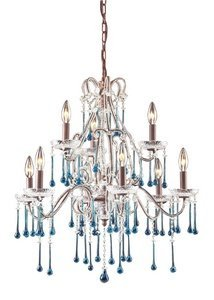 ELK Lighting 4013/6+3AQ 9 Light Chandelier, One Size, Rust/Aqua Crystal