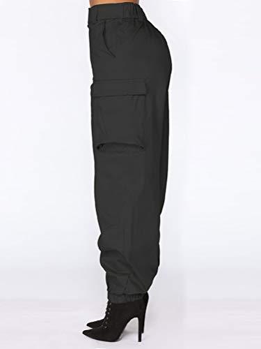 Moda Tempo Alta Pantaloni Nero Unita Donna Tinta Lunghi Orandesigne Hip Libero Boyfriend Cargo Estate Sciolto Vita Sportivi B4vwxtqAT