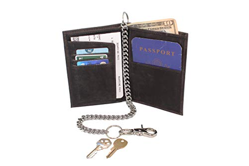 - Men Biker Crazy Horse Black Hunter Leather RFID Safe Passport Cover Billfold Chain Wallet