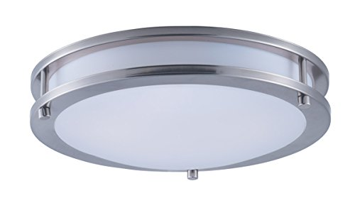 (Maxim 55542WTSN Linear LED Flush Mount, Satin Nickel Finish, White Glass, LED Bulb , 40W Max., Wet Safety Rating, Standard Dimmable, Glass Shade Material, 2016 Rated Lumens )