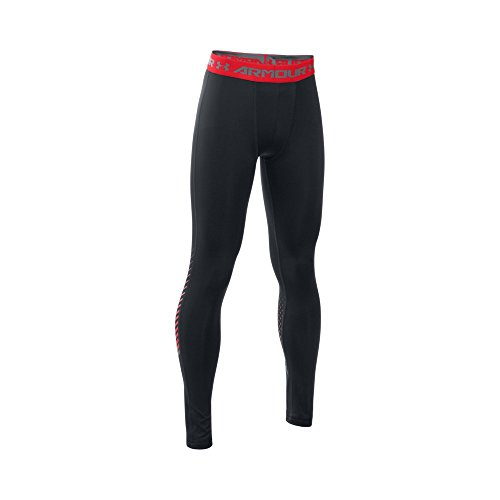 Under Armour Boys' HeatGear Armour Up Legging, Black/Graphite, Youth Large