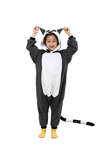 Unisex Kids Fleece Onesie Ring-Tailed Lemur Pajamas Animal Christmas Halloween Cosplay Costume Sleepwear(4-6 Years) -